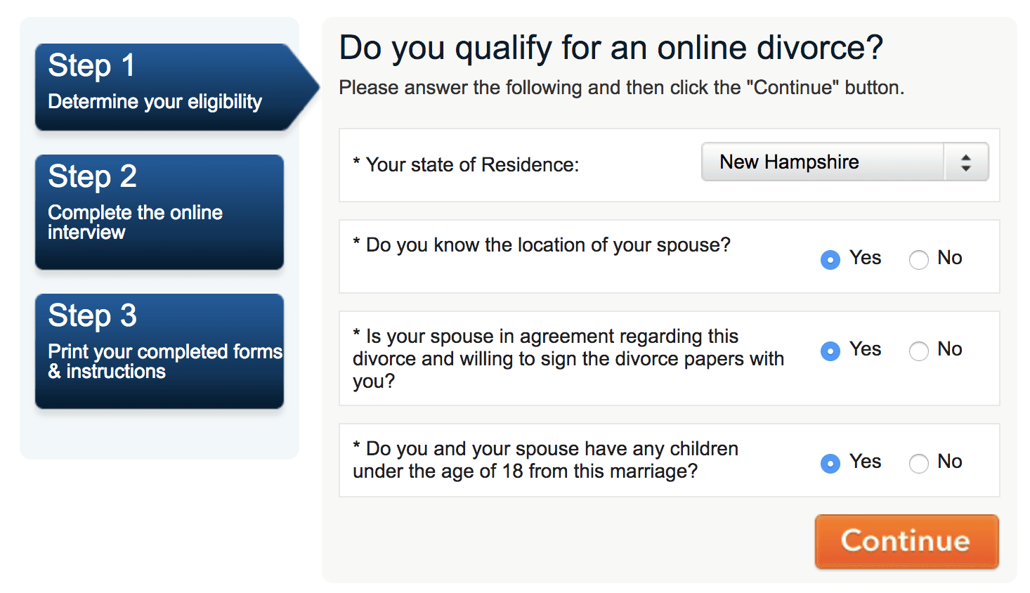 CompleteCase confirm your divorce qualifies